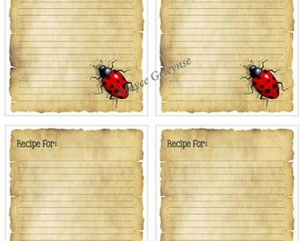 Instant Printable Recipe Card, Ladybug, Ladybird on Parchment,Freehand Artwork, Gift Idea, Cooking, Baking, Single Card Plus Page of Four