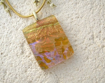 Amber Necklace, Amber Glass Jewelry, Fused Glass Jewelry, Dichroic Jewelry,  Dichroic Pendant Necklace, Gold Necklace  012315p100