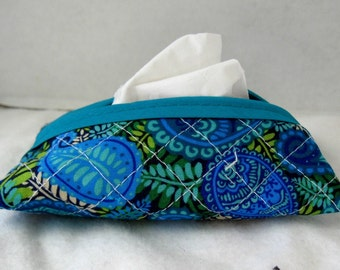Quilted Tissue Holder Paisley Pocket Size Peacock Navy
