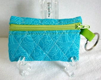 Quilted Coin Purse - Turquoise Change Purse - Small Zippered Pouch - Coin Purse Key Chain - Ear Bud Case