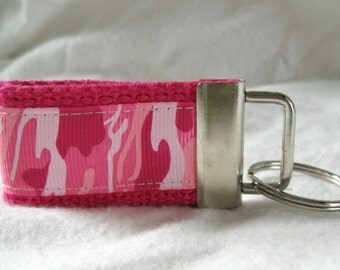 Pink Camo Key Fob - Mini Camouflage PINK Small Keychain - Pink Camo Zipper Pull