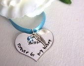 Wedding Bouquet Memorial Heart Shaped Charm With Wing Hand Stamped Something Blue WA03