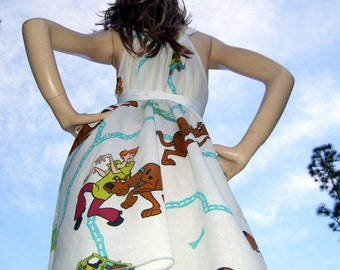 Scooby Doo Dress OOAK Upcycled Sundress Geek Sheer Cartoon Summer Scooby Matenrity Cruise Universal Resort Dress Adult S to XL