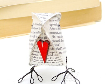 1st Paper Wedding Anniversary Jane Austen Pride and Prejudice Paper Bird with Heart- Made To Order
