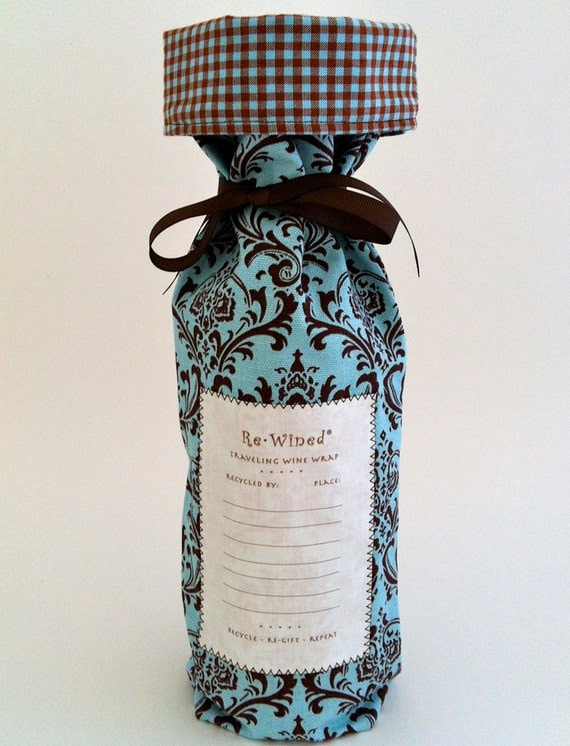 Re-Wined Traveling Wine Wrap, Wine Bag, Fabric Tote - Style A