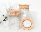 Peach Lace Tealight Candle Holders,  Home Decor in Shabby Elegance, Set of 3 Tealight Candle Holders