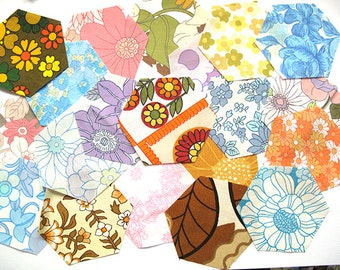 SALE...retro 60's and 70's hexagon fabric pack for patchworks projects