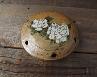 Brass Trinket Box, Enameled Box, Brass Rose Dish, Dresser Box, Enameled Brass Dish, Made in India