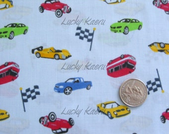 Japanese Tossed Race Cars Flags Blue Fabric - Half Yard