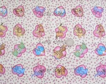 SALE/CLEARANCE Timeless Treasures Animal Hearts Fabric on Cream - Half Yard