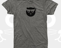 Men's Cat Shirt, Ninja Kitty, Kung Fu Watson the Cat, Men's Funny Graphic Tee, Gift Cat Lovers, Hipster, Gift for Men, Cat TShirt Men, Grey