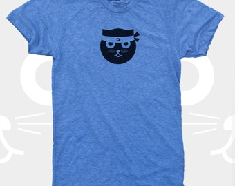 Cat Shirt Men, Kung Fu Watson the Cat TShirt, Funny Graphic Tee, Blue, Gift Cat Lovers, Hipster, Ninja Kitty, Gift for Men, Mens Cat Shirt