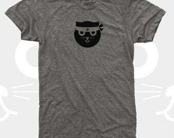 Men's Cat Shirt, Ninja Kitty, Kung Fu Watson the Cat, Men's Funny Graphic Tee, Gift Cat Lovers, Hipster, Gift for Men, Cat TShirt Men, Grey