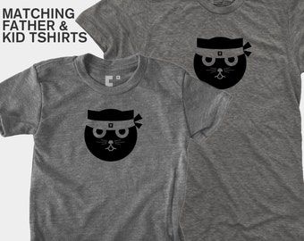 SALE! Matching Father Son Shirts, Dad Baby Matching, New Dad Gift, Daddy Daughter Matching, Gifts for Dad, Kung Fu Cat Tshirt