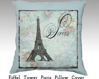 Eiffel Tower Paris Pillow cover Pink Roses Velvet accent  throw designer Velveteen