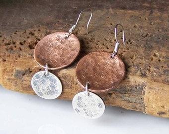 Hammered Earrings, Metalwork Earrings, Copper and Silver Filled, Mixed Metal Earrings, Double Discs, Etsy, Etsy Earrings, Etsy Jewelry