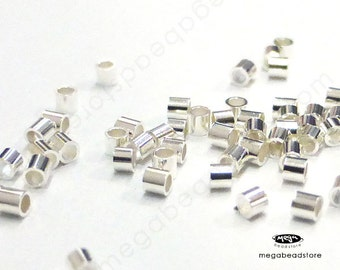 1mm Tiny Sterling Silver Crimp Tube Beads Spacers F32s - 500 pcs