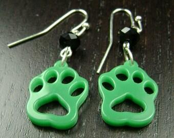 Paw Print Dangle Earrings in Green and Black
