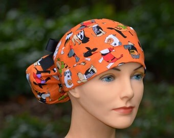 Scrub Hats // Scrub Caps // Scrub Hats for Women // The Hat Cottage // Ponytail // Halloween Spooky Puppies