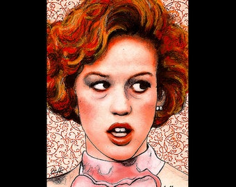 "Print 11x17"" - Pretty in Pink - Andie Walsh Molly Ringwald John Hughes 80s Duckie Dale The Breakfast Club 16 Candles Red Vintage Pop Art"