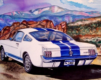 Vintage 1966 Shelby GT-350 Mustang Fine Art Watercolor Print, Illustration, Muscle Cars