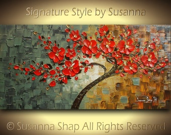original red tree cherry blossom oil painting large abstract contemporary thick texture gallery fine art ready to hang 48x24 made2order