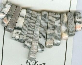 Pink Zebra Jasper Mini Cleopatra Collar Stick Beads Fan 13pc Bead Set