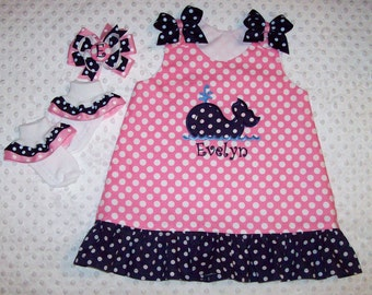 Navy Blue Polka Dot Whale Applique Monogram Pink Polka Dot Dress with Navy Dot Ruffle