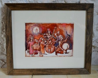 Wintersong - original framed coloured ink painting