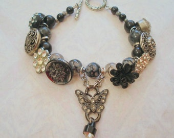 Double Duty: Vintage Button Bracelet with Rinestone Butterfly Focal and Dragon Blood Beads,Bracelet/Necklace