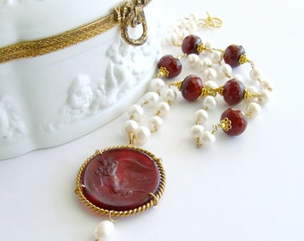 Red Venetian Intaglio Cameo Angel Pearls Ruby Quartz - Vittoria Necklace