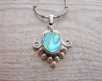 Sterling Silver Seashell Necklace Abalone Shell