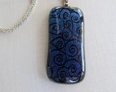 Dichroic Glass necklace Swirls in Blue