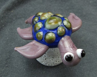 CLEARANCE Handmade Lampwork Glass Sculpture -Turtle- by Jason Powers SRA