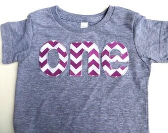 1st Birthday Shirt one Chevron Number Birthday T Shirt  triblend grey Birthday Shirt Purple Lilac Lavender