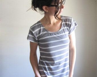 Pale Grey Stripe Tunic Dress, Bamboo Jersey, Tee Shirt Dress, Heather Grey Stripes, Scoop Neck Sundress, Stripes Short Dress, Custom Made