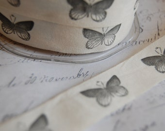 """Natural Cotton Canvas 3/4"""" wide Butterfly Print"""