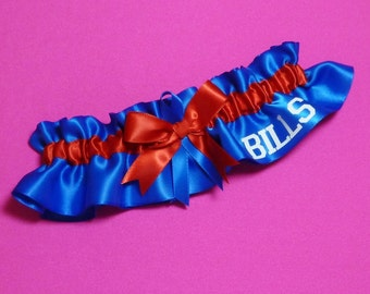 Buffalo Bills Wedding Garter with Bills word   Handmade  Keepsake  Satin rr2