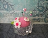 Petal Pink  Needle Felted Wool Pincushion in Upcycled  Glass Tea Light Holder