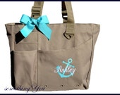 Personalized Anchor Large Tote with Name - Monogrammed Totes Bags - Super Feature Briefcase Size Solid Color Bridesmaids Nautical Gift Idea