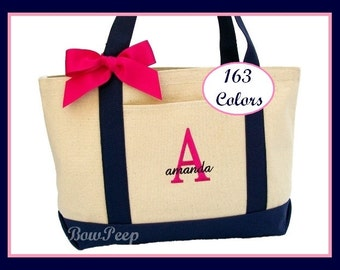 Set of 5 Personalized Navy Natural Canvas Large Boat Totes with Ribbon Bow - Initial and Name, Custom bridesmaids gifts group five weddings
