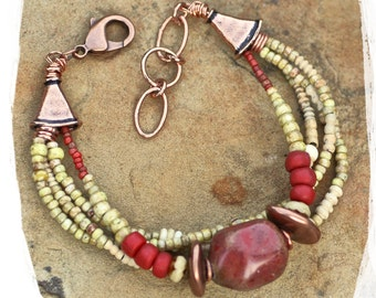 Rustic beads bracelet, Bohemian statement bracelet, Boho chic bracelet for her, Chunky multistrand bracelet, Bold ethnic bracelet,