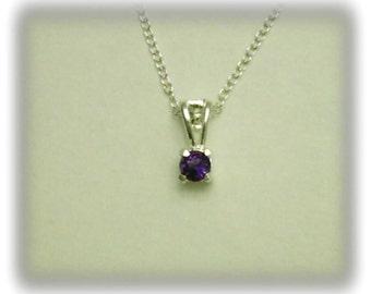 4mm Purple Amethyst Gemstone in 925 Sterling Silver Pendant Necklace