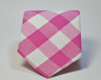 Boys Necktie Hot Pink Check Tie