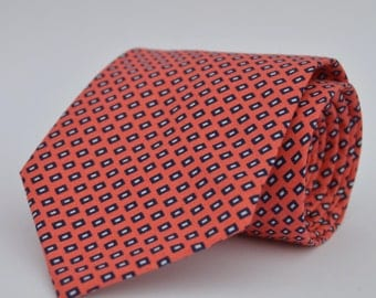 Coral and Navy Boy's Necktie Toddler Necktie Baby Necktie