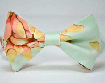 Men's Bow Tie Mint and Peach Floral Bowtie