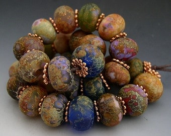 Naos Glass Roman Gardens Mega Set 30 beads Made To Order Handmade Lampwork Beads SRA Cobalt Orchid Lavender Teal Rust
