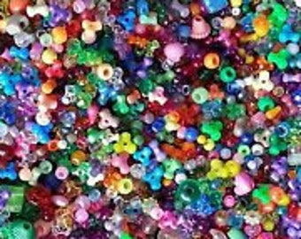 Bulk Plactic Pony Beads Assorted Variety Shapes & Colors,  1 lb