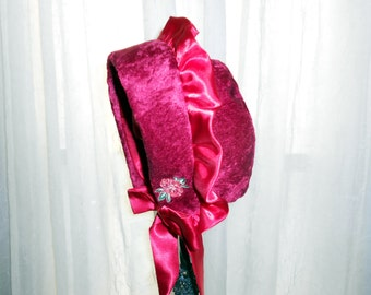 Bonnet Red Velour Holiday Accent Hat Girls 2 to 5 years