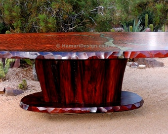 CUSTOM Curly Redwood Dining or Conference Table, 15 feet long, Oval or Rectangle